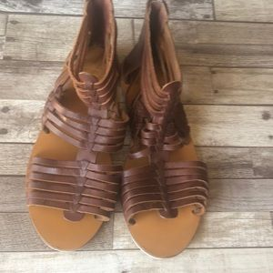 Ecote Brown leather gladiator flat sandals